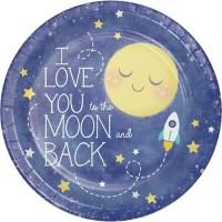 "Piring Kertas 9"" Tema To The Moon And Back - Pesta Ulang Tahun"