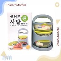 Rantang Set Glass Bowl 3 Susun / Mangkok Set Rantang Kaca Piknik - TS