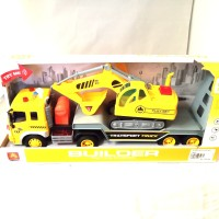 Mainan Anak Truck Transporter Excavator WENYI WY 571A Build Trailer TS