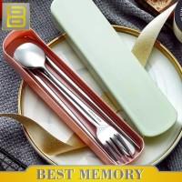 Sendok Set Stainless steel / sendok / garpu / alat makan set - Merah Muda