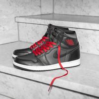 Sepatu Nike Air Jordan 1 Black Satin Gym Red Premium Original