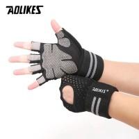 WRIST WRAP GLOVE SARUNG TANGAN GYM FITNESS STRAP Weightlifting Gloves - Hitam, M