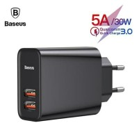 BASEUS Batok Charger Speed Dual QC 3.0 Quick Charger USB + USB 30W 5A