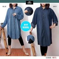 Baju Atasan Tunik Jeans Jumbo / Atasan Wanita Big Size 935