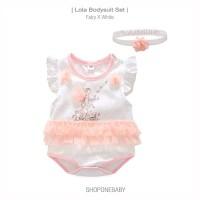 Flying Fairy Baju Bayi Bando Cewek Jumper Set HeadBand Baby Pink LOLA - 59 0-3m