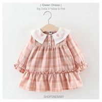 Dress Summer Pakaian Bayi Cewek Baju Baby Yellow Kuning Pink GWEN - Merah Muda, No.5 0-6m