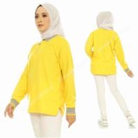 Kaos Polo Panjang Kuning Kenari Kerah Abu / Kaos Kerah Panjang - Kuning Krh Abu, S