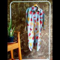 Tunik kemeja panjang gamis dress wanita motif floral daun
