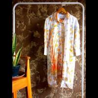 tunik dress gamis kemeja panjang wanita batik cap motif bambo oranye