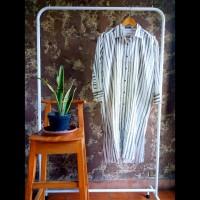 Tunik kemeja panjang gamis dress wanita stripe vertikal abu putih