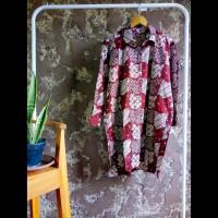 tunik dress gamis kemeja panjang wanita batik cap warna maroon putih