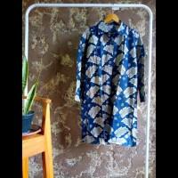 tunik dress gamis kemeja panjang wanita batik cap motif daun biru abu
