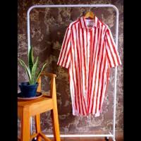 Tunik kemeja panjang gamis dress wanita stripe vertikal merah putih