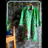 tunik dress gamis kemeja panjang wanita batik hijau motif bambo pink