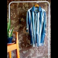 Tunik kemeja panjang gamis dress wanita stripe biru putih hitam