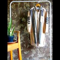 Tunik kemeja panjang gamis dress wanita stripe kombinasi cream hitam