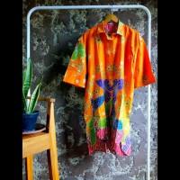 tunik dress gamis kemeja panjang wanita batik cap motif warna oranye