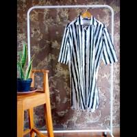 Tunik kemeja panjang gamis dress wanita stripe vertikal hitam putih