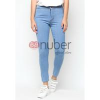 Celana Panjang Jeans Highwaist Wanita Blue Stretch Nuber - Petunia