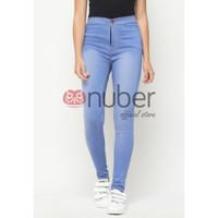 Celana Panjang Jeans Highwaist Wanita Blue Sea Stretch Nuber- Petunia