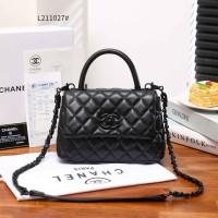 Chanel Top Handle Flap Bag Black Tas Wanita