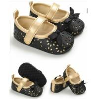 Sepatu Bayi Perempuan Prewalker Shoes Import Pita Dalam Gold