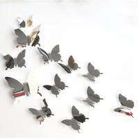 Hiasan Dinding Kupu-kupu Cermin Kaca Kupukupu Butterfly Mirror 12pcs