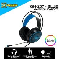 Headset Gaming Komic GH-207 - Mobile / PC Headset RGB - Blue
