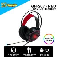 Headset Gaming Komic GH-207 - Mobile / PC Headset RGB - Red