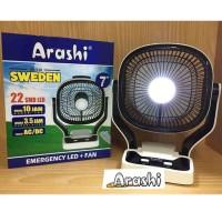 Kipas Angin Portable + Lampu Emergency 7 inch Charge ARASHI SWEDEN AR1