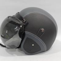 Helm Retro GTR Full Kulit Black