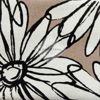 Kain Kanvas Sunflower grey canvas meteran motif bunga matahari besar