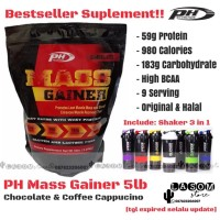 PH MASS GAINER 5 lbs 5lb Suplement fitness free shaker