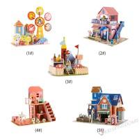 Ki Mainan Puzzle Jigsaw Kastil Kartun Istana 3D untuk Edukasi Awal