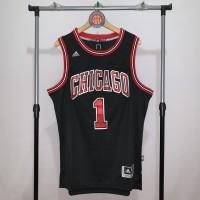 Jersey Basket Swingman NBA Chicago Bulls Derrick Rose black hitam