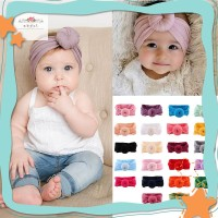 Baby Girl Nylon Turban Headwraps Round Knot Headbands Bow Turban