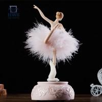 Ballerina Music Box Dancing Girl Swan Lake Carousel with Feather for