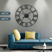 Jam Dinding Retro Vintage Angka Romawi Bahan Metal untuk Dekorasi