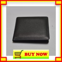 MT718 dompet pria kulit sapi asli warna hitam bifold wallet leather go