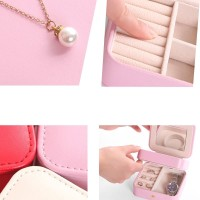 Kotak Perhiasan / Anting / Cincin / Kalung Portable Bahan Kulit PU