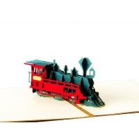 Kartu Ucapan Pop Up 3D Desain Kereta Api untuk Hadiah Ulang Tahun