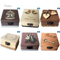 Kotak Cincin Pernikahan Bahan Kayu Motif Print Gaya Rustic 6 Model