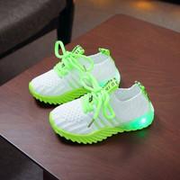 Sepatu Sneakers Anak Laki-laki FlyKnit 018 Sepatu LED Bahan Rajut - Hijau, 21