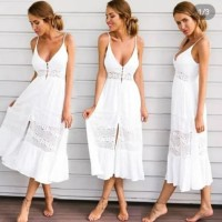 White Lace Maxi Dress Putih Pantai Bali Brukat Sexy Bikini Cover Up