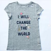 GAP Kaos Anak Perempuan Lengan Pendek 7-9 tahun Motif Lucu