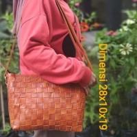 Tas selempang wanita kulit asli anyam vintage