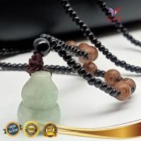Kalung Liontin Batu Giok Burma Hijau Asli Model Kendi - VeE Pendant