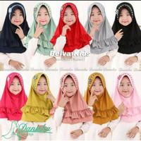 Kerudung Anak Belva Kids Variasi Ped Melati / Jilbab Hijab Anak SD - All Size, Merah