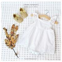 Jumpsuit Dress White Ruffle Pakaian Rumah Bayi Baju Baby Jumper ROSE