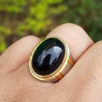 cincin batu akik natural kecubung wulung hitam pekat di senter tembus
